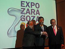 Bandrés, Belloch y Gistau, en la presentación del nuevo logotipo