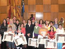 Algunos de los premiados con Rosa Borraz