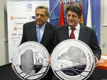 Las monedas tienen la imagen de la Torre del Agua y del Pabellón Puente