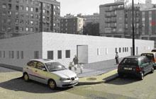 La escuela se ha diseñado como un bloque compacto de ladrillo blanco