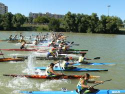 Imagen de la prueba de la Copa de España de Maratón de Piragüismo en el río Ebro celebrada en 2008