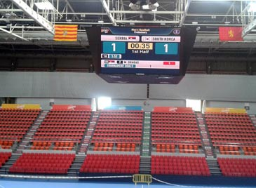El pabellón presenta un aspecto inmejorable para la cita. Foto: Twitter Handball2013ZGZ