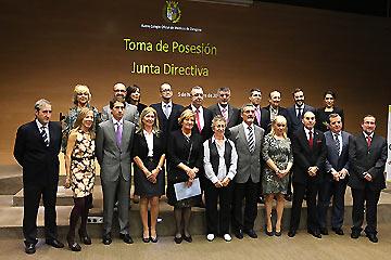 La nueva presidenta del Colegio, Concepción Ferrer, con los nuevos miembros de la Junta Directiva