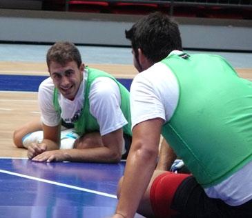 Cristian Postigo durante un entrenamiento con el equipo aragonés