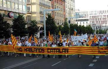 Foto de archivo de una de las manifestaciones en contra del catalán