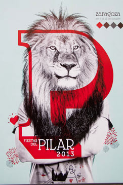 Una cabeza de león en blanco y negro con cuerpo humano será el cartel de los Pilares 2013