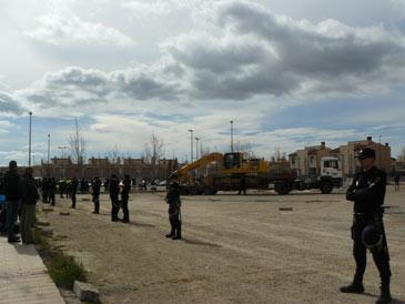 Al comienzo de las obras hubo un gran despliegue policial