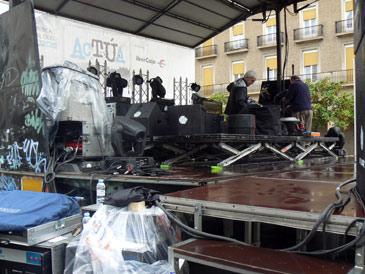 La plaza del Pilar estaba preparada para estos conciertos