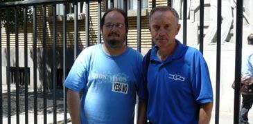 El presidente de Coagret, Valentín Cazaña, y el portavoz de la Plataforma en Defensa del Ebro, Manel Tomás