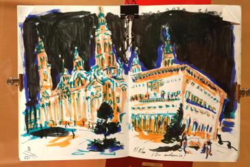 La exposición refleja los lugares más emblemáticos de Zaragoza
