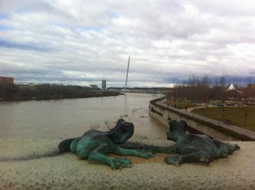 Este domingo, el río ha alcanzado una altura de 2,89 metros. Foto: CHE