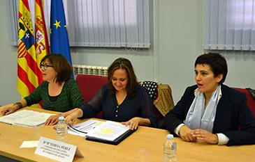 La presidenta del Consejo Escolar de Aragón, la consejera de Educación y la directora provincial de Educación de Zaragoza