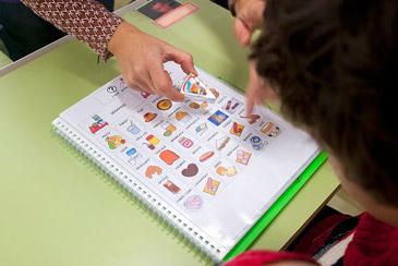 Ejemplo de un cuaderno de comunicación con pictogramas