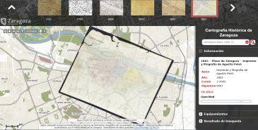 Comparación de la Zaragoza actual con un plano de 1863