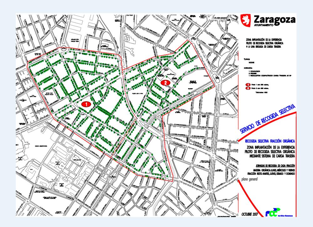"""Plano de la zona de Centro y Universidad donde se aplicará el sistema de recogida """"puerta a puerta"""""""