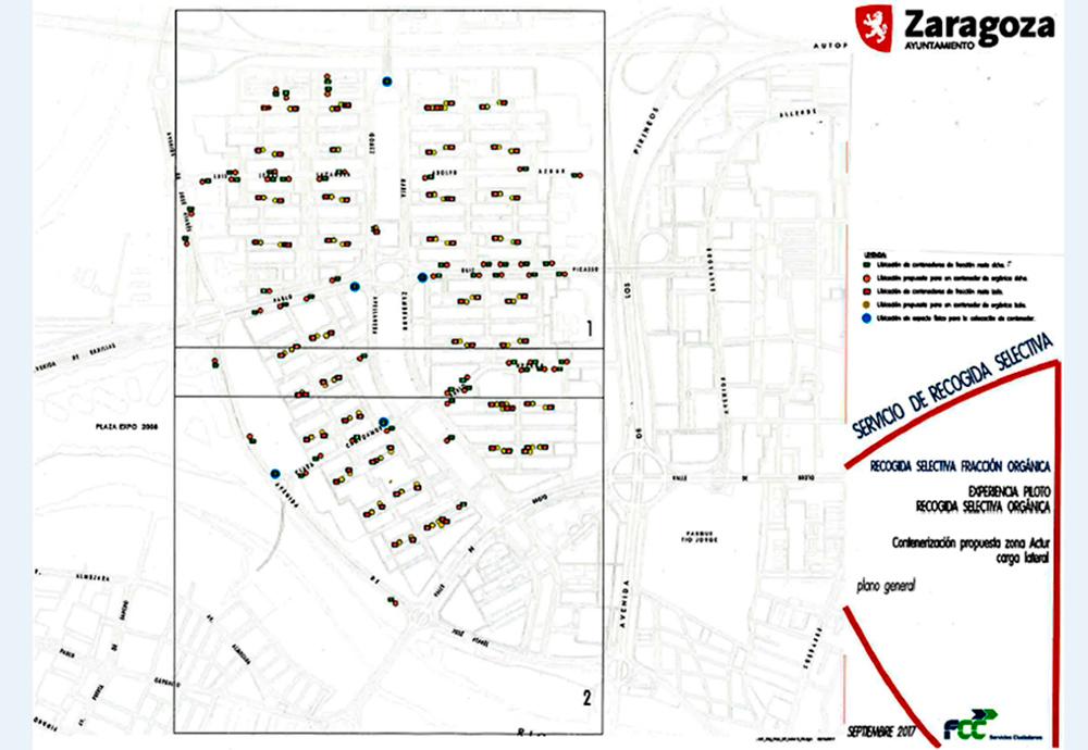 Plano de la zona del Actur donde se aplicará el sistema de recogida mediante un quinto contenedor