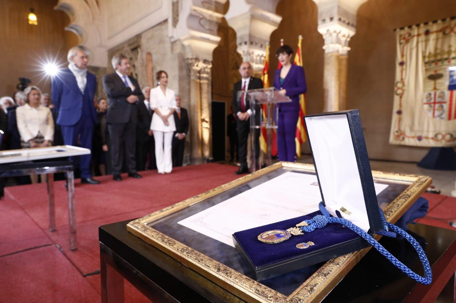 El discurso ha tenido lugar este martes durante la entrega de a Medalla de las Cortes de Aragón