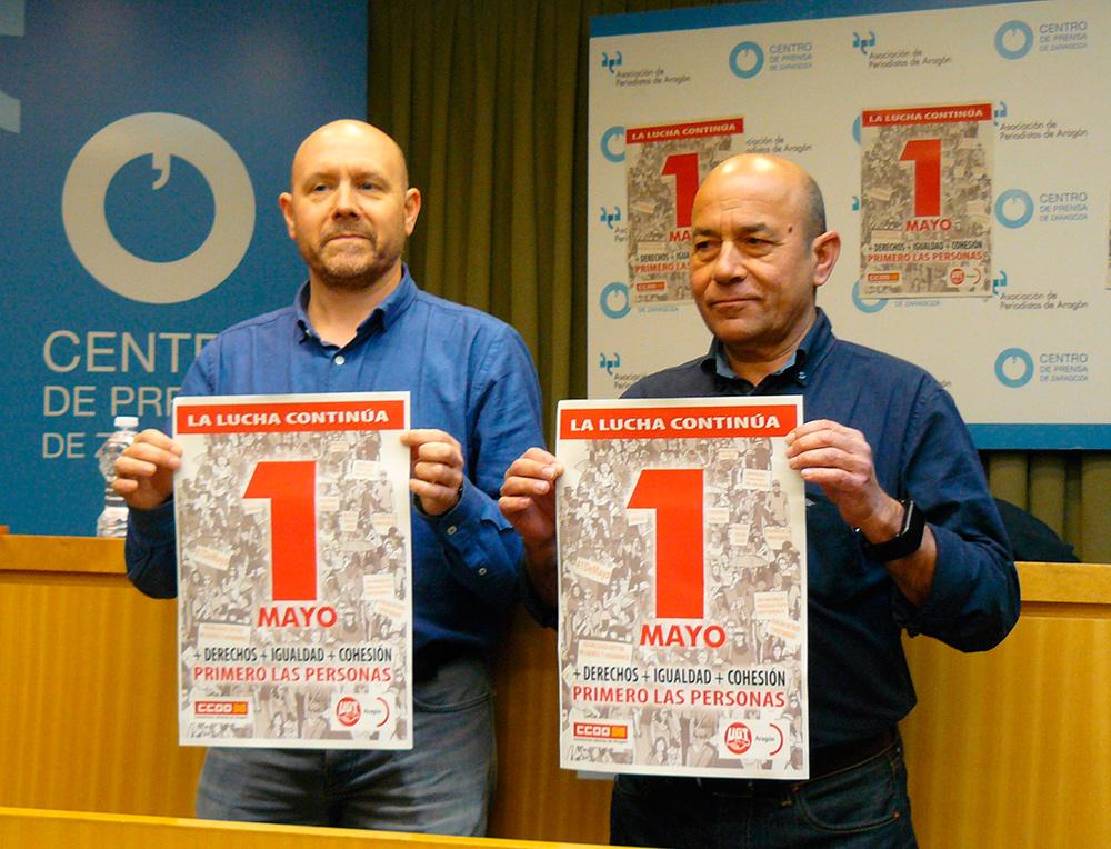 Daniel Alastuey y Manuel Pina, representantes de UGT y CCOO, han presentado estas movilizaciones